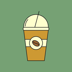 Ice Coffee Cup Flat Icon