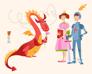 Princess with a book, knight with a sword and dragon a rose. Diada de Sant Jordi (the Saint George's Day). Traditional festival in Catalonia, Spain.