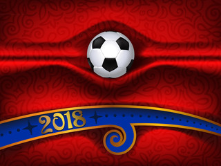 football  background, 2018 trend, championship, soccer ball , goal, fabric folds