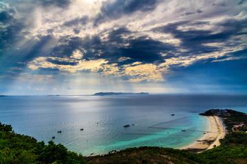 Blue sky, blue sea, jet boat, transport vessel, fisherman ship, crystal clear water, Koh-Lan Pattaya Thailand