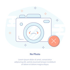 Flat line icon concept of Prohibition to take pictures. Vector illustration of cute cartoonPhoto Camera with emoji.
