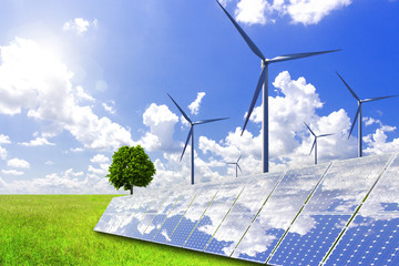 New energy, solar power and wind power will solve the future energy shortage