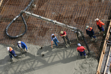 builders works on the construction site Wall mural