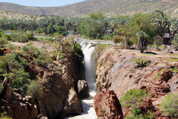 A view of the beautiful Epupa Falls on the border of Namibia and Angola.