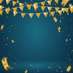 Abstract background party celebration gold flag and confetti.