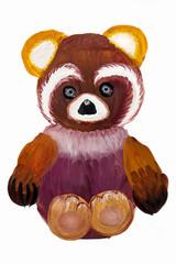 Детский рисунок.Портрет мягкой игрушки мишки.