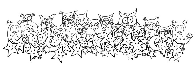 Horizontal illustration with cute cartoon owls, moons and sleeping or smiling stars. Vector cartoon image with black contour isolated on white background.