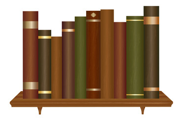 Old books on wooden bookshelf vector