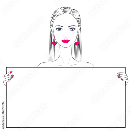 Fashion illustration. Portrait of a young beautiful woman. A woman ...