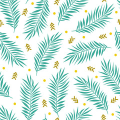 Vector summer seamless pattern with palm leaves and geometric elements. Natural repeated texture.