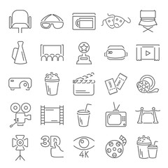 Cinema line icons set for web and mobile design