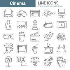 Cinema line icons set for web and mobile design