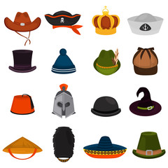 Set of different hats color flat icons