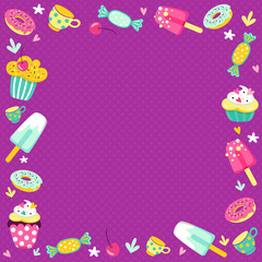 a bright frame of sweets for children's parties.The frame of cakes, sweets, elements and ice cream