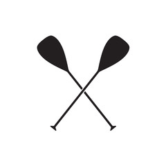 crossed boat oars- vector illustration