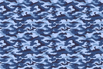 Military camouflage texture, blue color. Vector
