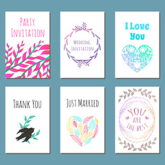 Vector set of spring greeting cards, posters, postcards. Cute invitation templates