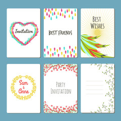 Vector set with greeting cards. Colored floral collection,feathers