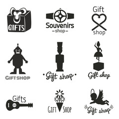 Vector set with toys, gifts and souvenirs icons. Music box with ballerina, guitar, bouquet of flowers, angel, robot toy, soldier, heart shape bow