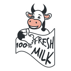 Vector illustration with a cow holding thumbs up - fresh milk.