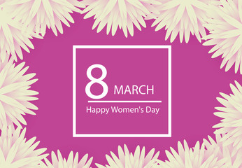 8 March holiday background with paper cut Frame Flowers. Happy Mother's Day. Trendy Design Template. Vector illustration.