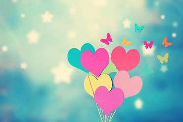 Grußkarte mit Herzen und Schmetterlingen