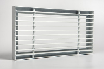 Metal grill for ventilation. Air duct. Ventilation of air.