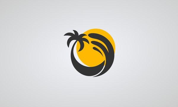 Summer logo vector, beach logo. sunrise with palm and wave.