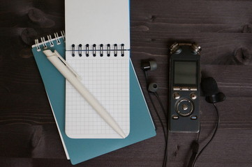 Video blogger or journalist accessories and scratchpad with script. Preparing for video shooting or interview