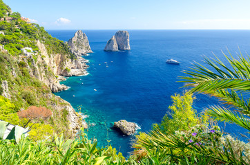 view on Faraglioni rocks on Capri island, Campania, Italy