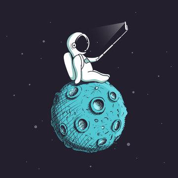 Funny astronaut make selfie on Moon.Spaceman photographs himself.Childish vector illustration.Prints design