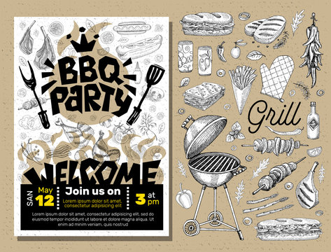 BBQ party Food poster. Barbecue template menu invitation flyer design elements spice, drinks, hand drawn elements.