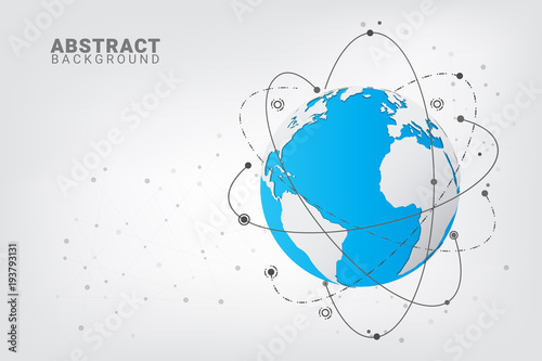 Abstract technology background  Global network connections with