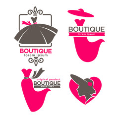 Dress boutique or fashion dress and hat atelier salon vector icons set