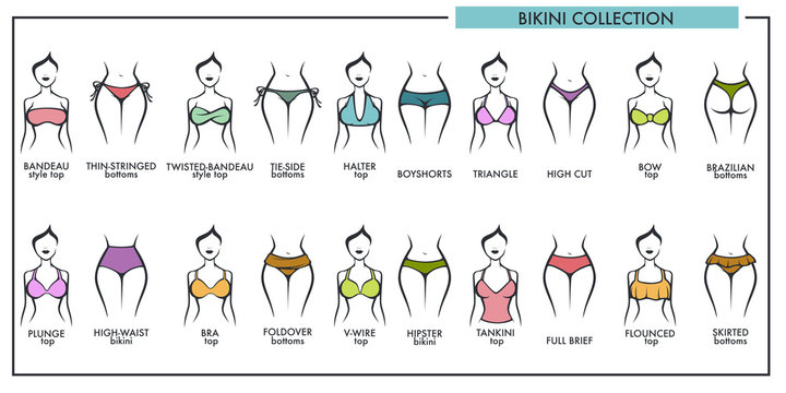 Woman bikini types collection vector icons of fashion lingerie or swimsuit