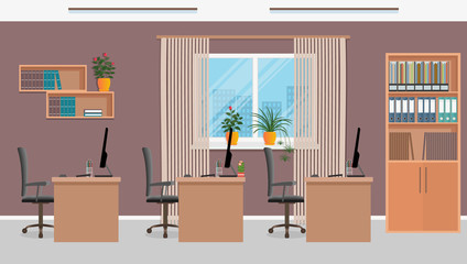 Office workspace design with three workplaces and office furniture like tables, laptops, armchairs. Working room interior