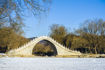 Arch bridge in Summer Palace in winter