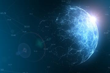 Futuristic network globe with numbers, view from space and flare of light.