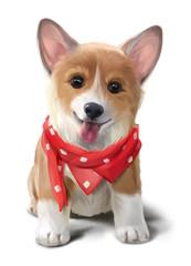 Cheerful Corgi in a red handkerchief