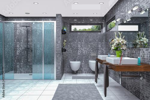 Moderne Badezimmer Mit Dusche Und Badewanne Sammlung   Modernes Badezimmer In Weiss Und Schwarz Mit Dusche Badewanne Wc