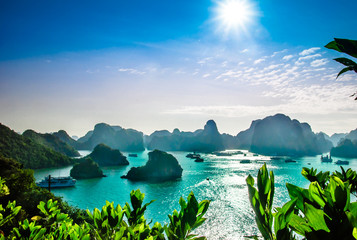 View on karst landscape by halong bay in Vietnam Wall mural