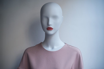closeup of pink dress on mannequin in fashion sotre showroom for women