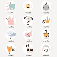 Cute months stickers with doodle animals and other elements. Vector hand drawn illustration.