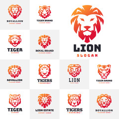Tiger and lions face logo badge strength predator power wildcat vector illustration.