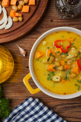 Sweet potato soup with chicken and lentils.