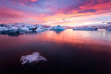 Jokulsarlon Glacier Lagoon at sunset, Iceland, Europe