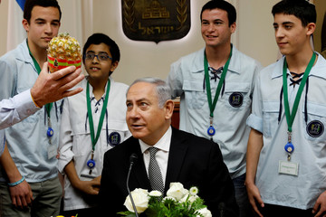 Israeli Prime Minister Benjamin Netanyahu looks at a pineapple presented to him by Israeli youth movement members at the start of the weekly cabinet meeting at the Prime Minister's office in Jerusalem