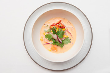 Sea bass ceviche shot from above