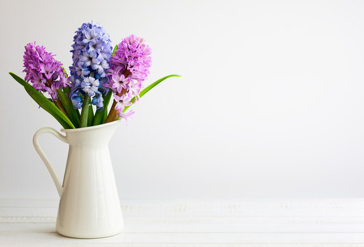 Lilac and pink hyacinths.