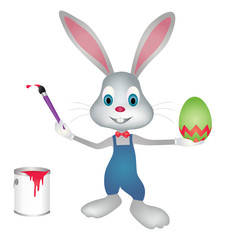 Easter bunny painting easter egg with paint brush vector